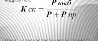 Коэффициент стабильности кадров формула